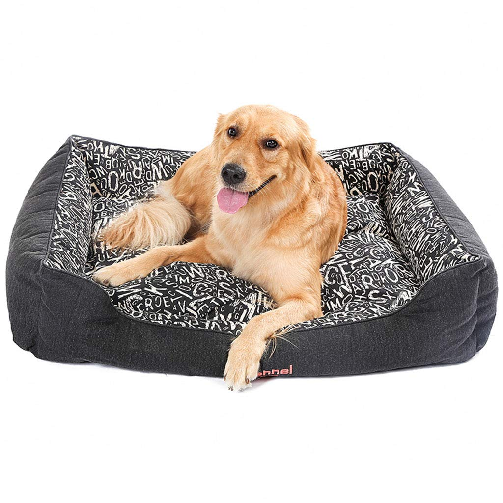Large MEIHAO Soft Dog Bed, Cozy Kennel Double-sided Mat Denim Canvas Pet Bed Sofa for Medium Large Dogs, Removable and Washable Cover,L