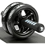H&S Ab Abdominal Exercise Roller With Extra Thick Knee Pad Mat - Body Fitness Strength Training Machine AB Wheel Gym…