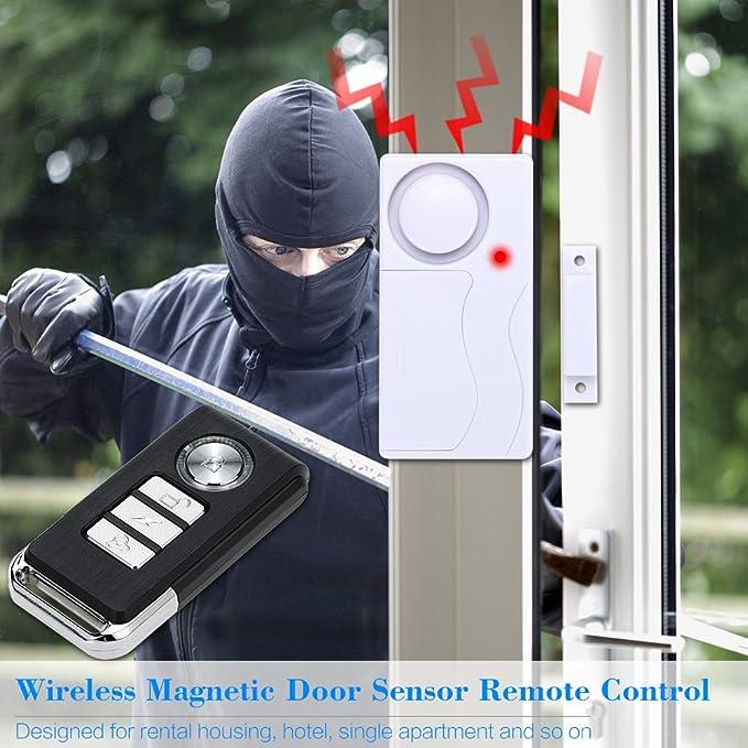 Mengshen Alarma de Puertas y Ventanas - Alarma Antirrobo Inalámbrica con Control Remoto, Fácil De Instalar, 105db (Incluye 1 Alarma y 2 Control ...