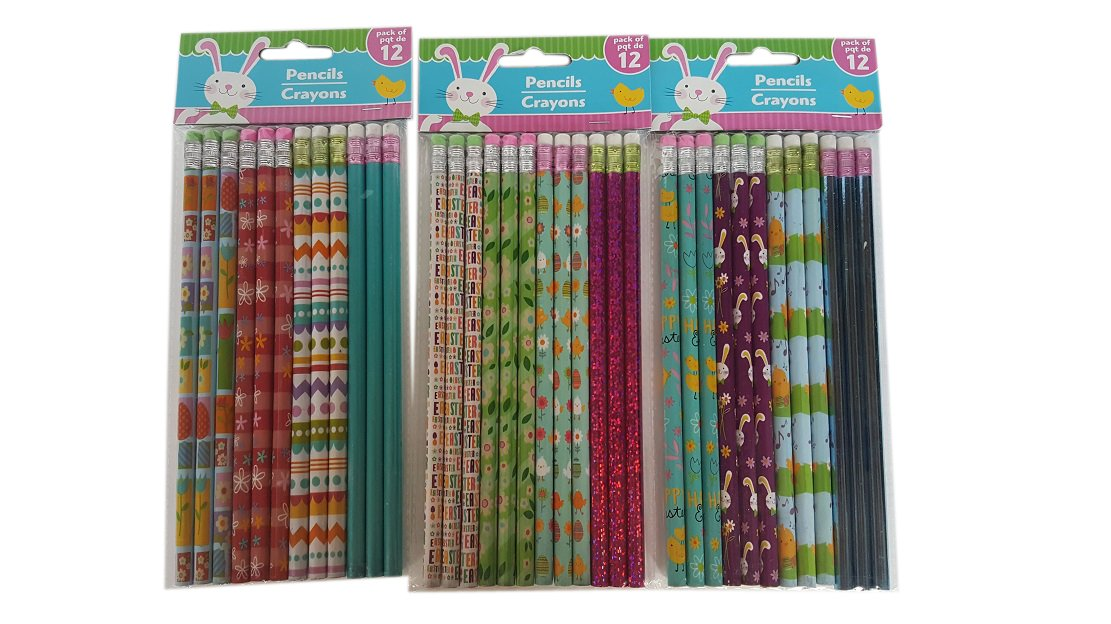 3 Assorted Sets of 12 Pencils Each 36 Easter Themed Holiday Pencils Bundle Pack of Three