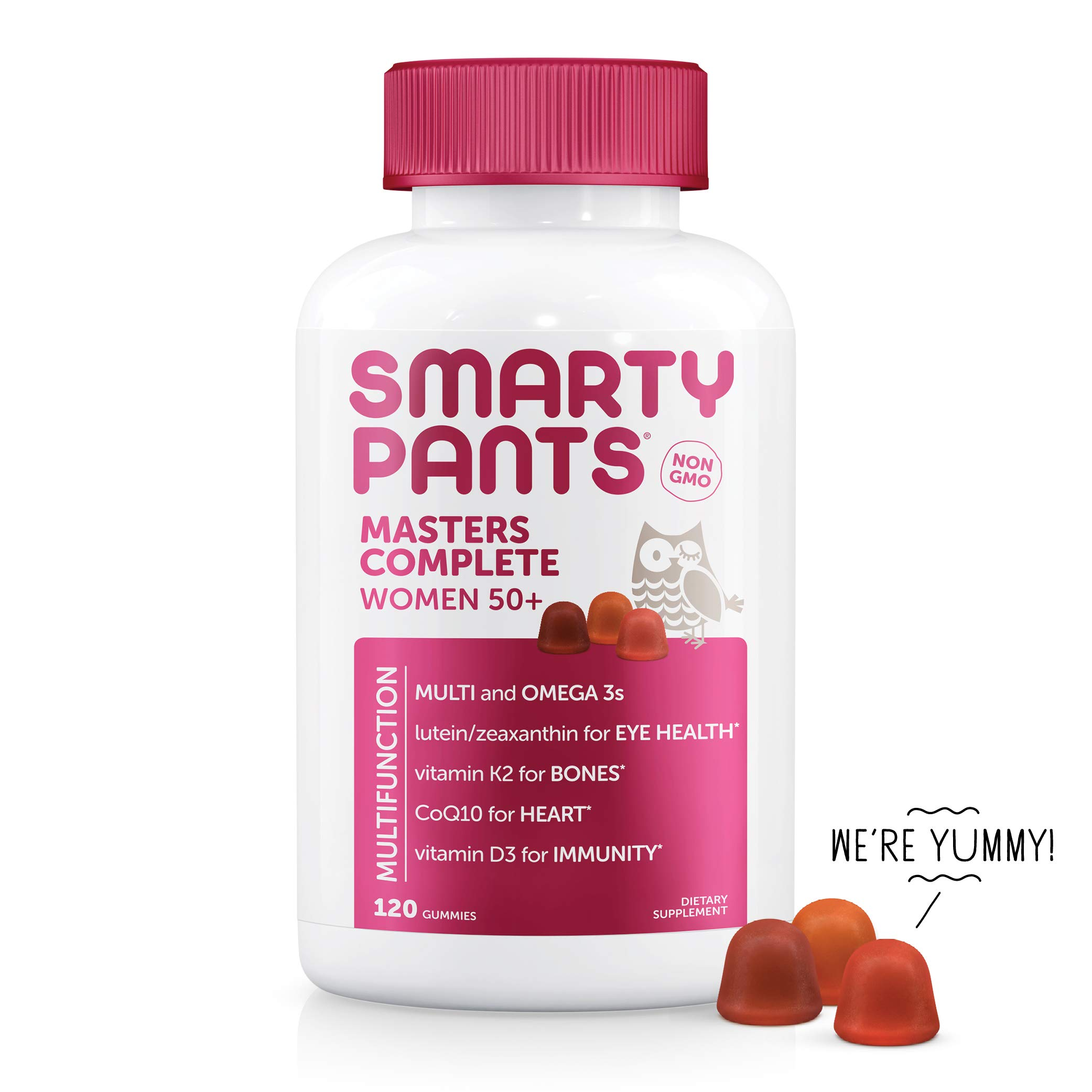 SmartyPants Women's Masters Complete 50+ Vitamins: Gluten Free, Multivitamin & Lutein/Zeaxanthin for clinically-Proven Eye Health*, Vitamin D3, CoQ10, Omega 3 Fish Oil, 120 Count, (30 Day Supply) by SmartyPants Vitamins