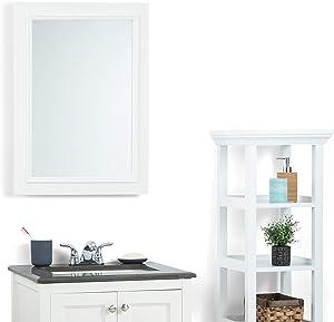 SIMPLIHOME Cambridge 22 inch x 30 inch Bath Vanity Décor Mirror in Pure White