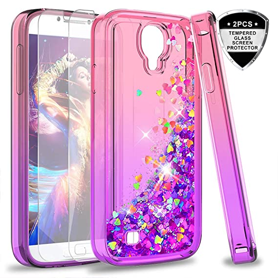 best website ec364 10fba S4 Case, Galaxy S4 Glitter Case with Tempered Glass Screen Protector [2  Pack] for Girls Women, LeYi Bling Sparkle Diamond Liquid Quicksand Flowing  ...