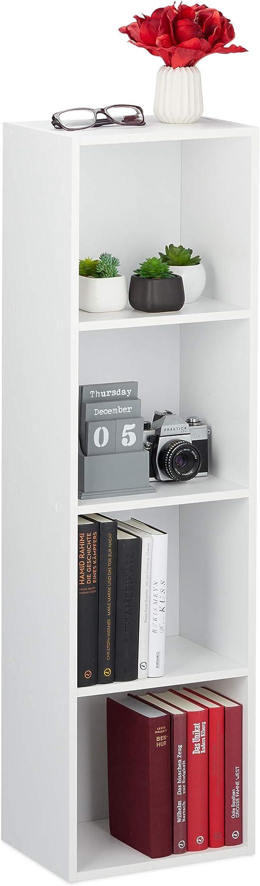 Relaxdays Librería, Cuatro estantes, Mueble Auxiliar, Estrecha, Moderna, Aglomerado, 106 x 30 x 23 cm, 1 Ud., Blanco
