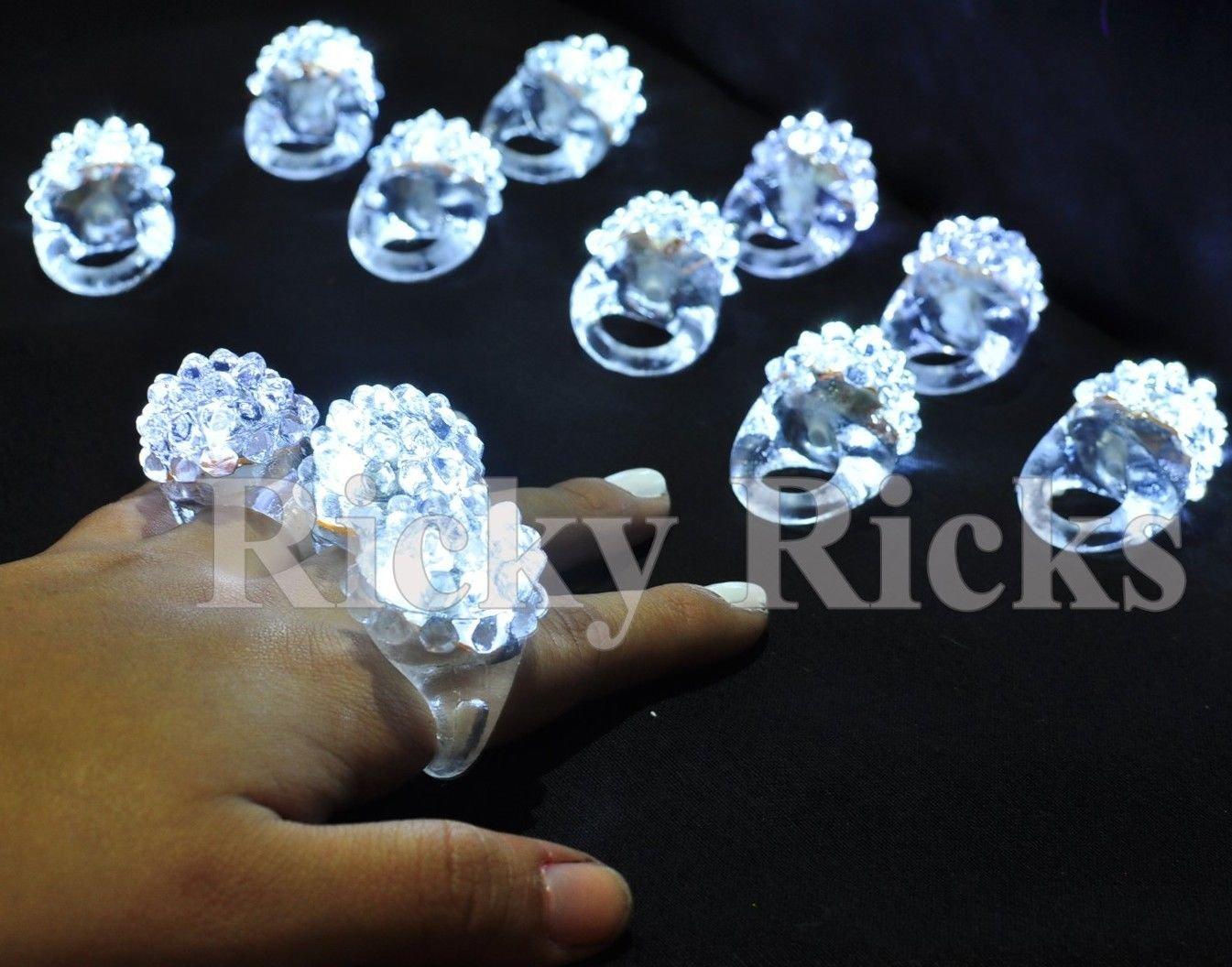 VirtualSurround 100 Pack Light-Up White Jelly Bumpy Rings Flashing LED Bubble Rave Favors