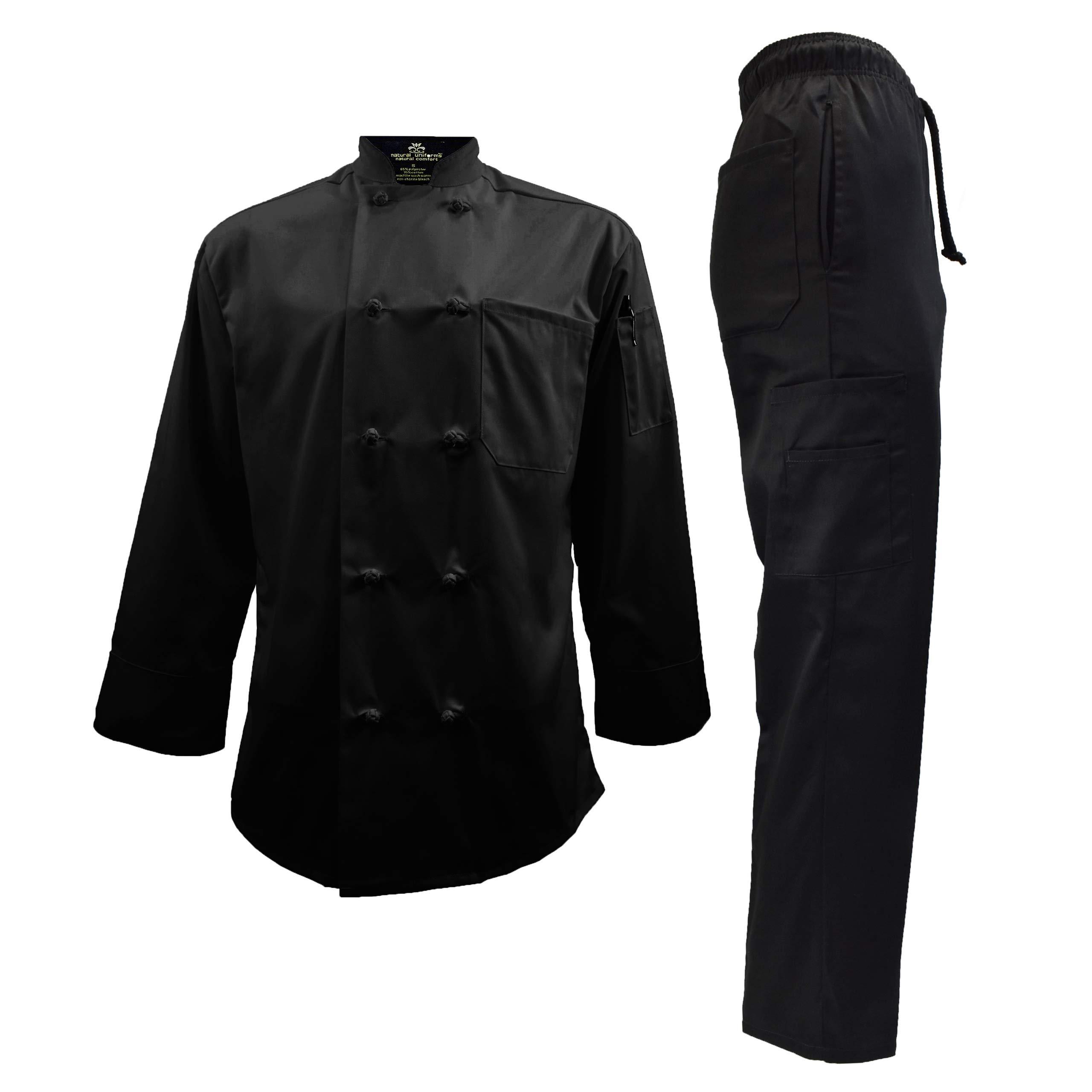 Chef Uniform Set - Chef Coat and Pants (XXXX-Large, Black Coat/Black Pants) by Natural Uniforms