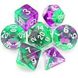 Haxtec 7PCS DND Dice Set Polyhedral D&D Dice of D20 D12 D10 D8 D6 D4 for Dungeons and Dragons TTRPG Games (Green Purple)