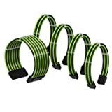 LINKUP PSU Cable Extension Sleeved Custom Mod GPU PC Power Supply Braided w/Comb Kit for Ryzen |1x 24 P (20+4) | 2X 8 P (4+4) CPU | 2X 8 P (6+2) GPU Set | 50CM 500MM - GreenBlack (Color: GreenBlack, Tamaño: 50cm Ryzen Pwr Cable Kit)