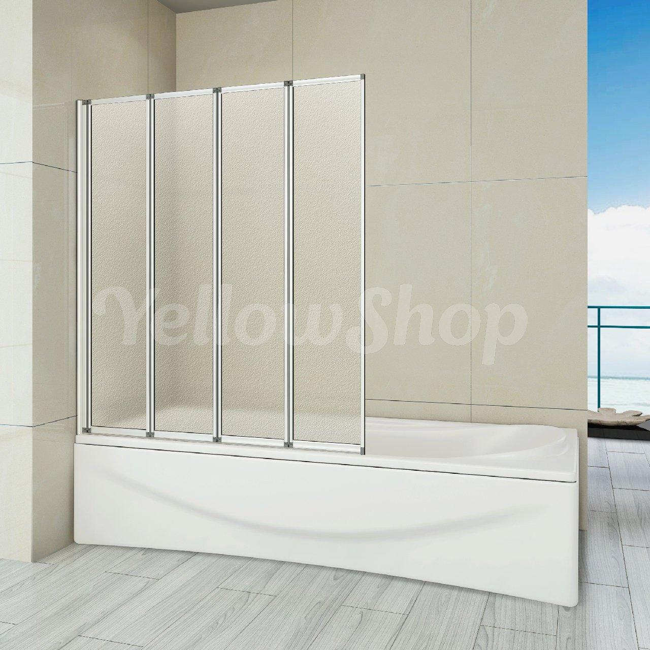 Yellowshop - Mampara de baño plegable, de aluminio y cristal ...