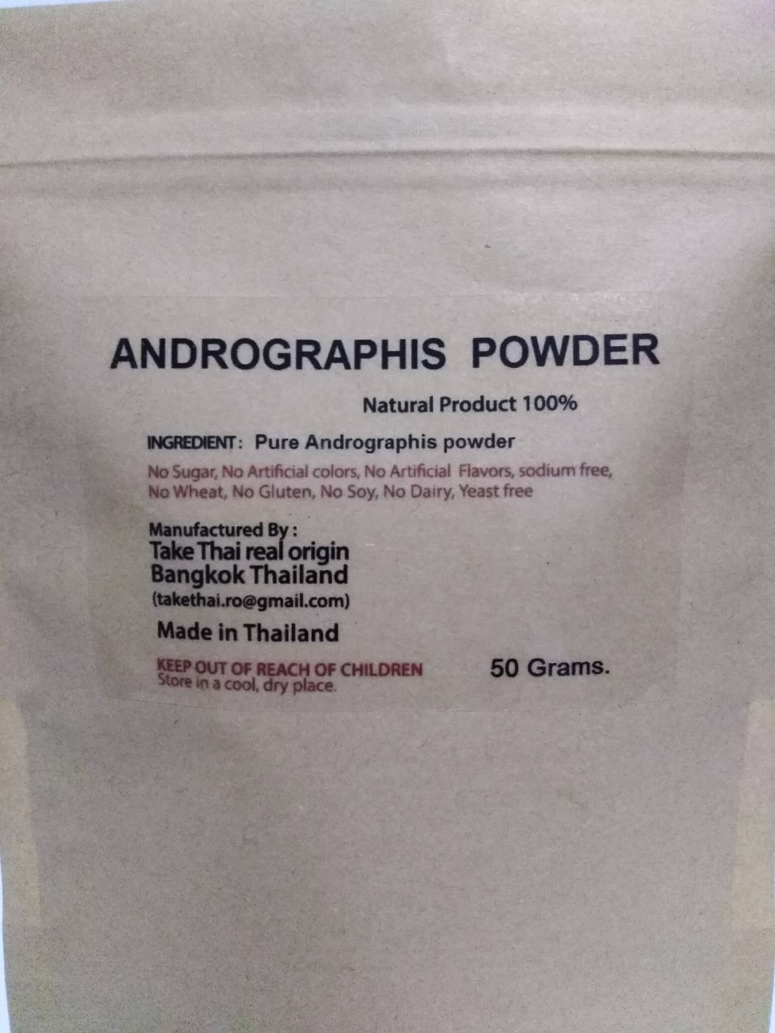 Take Thai Real Origin :Andrographis Powder 100% Pure 50Grams
