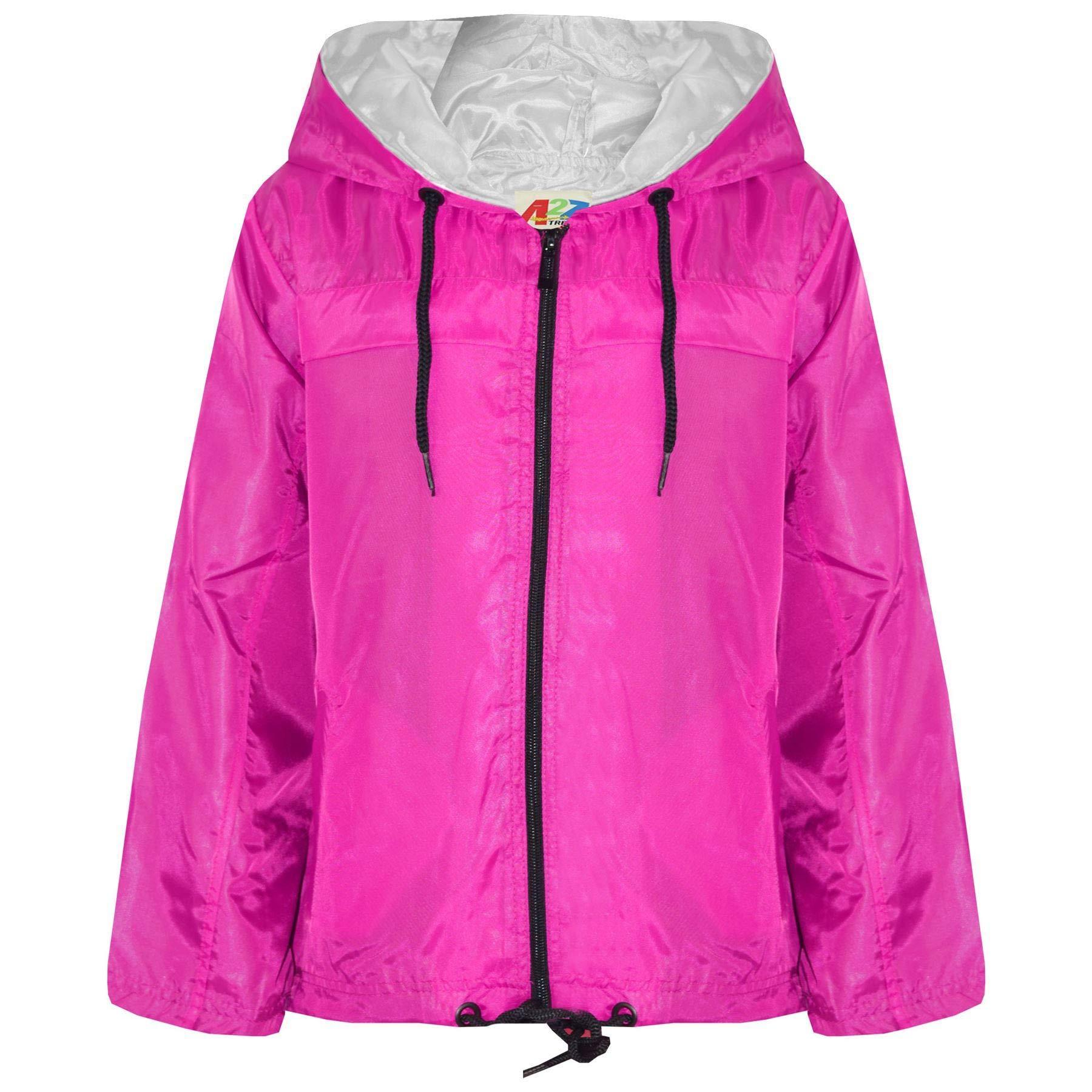 Kids Girls Boys Pink Hooded Raincoats Cagoule Lightweight Jackets Rain Mac 5-13