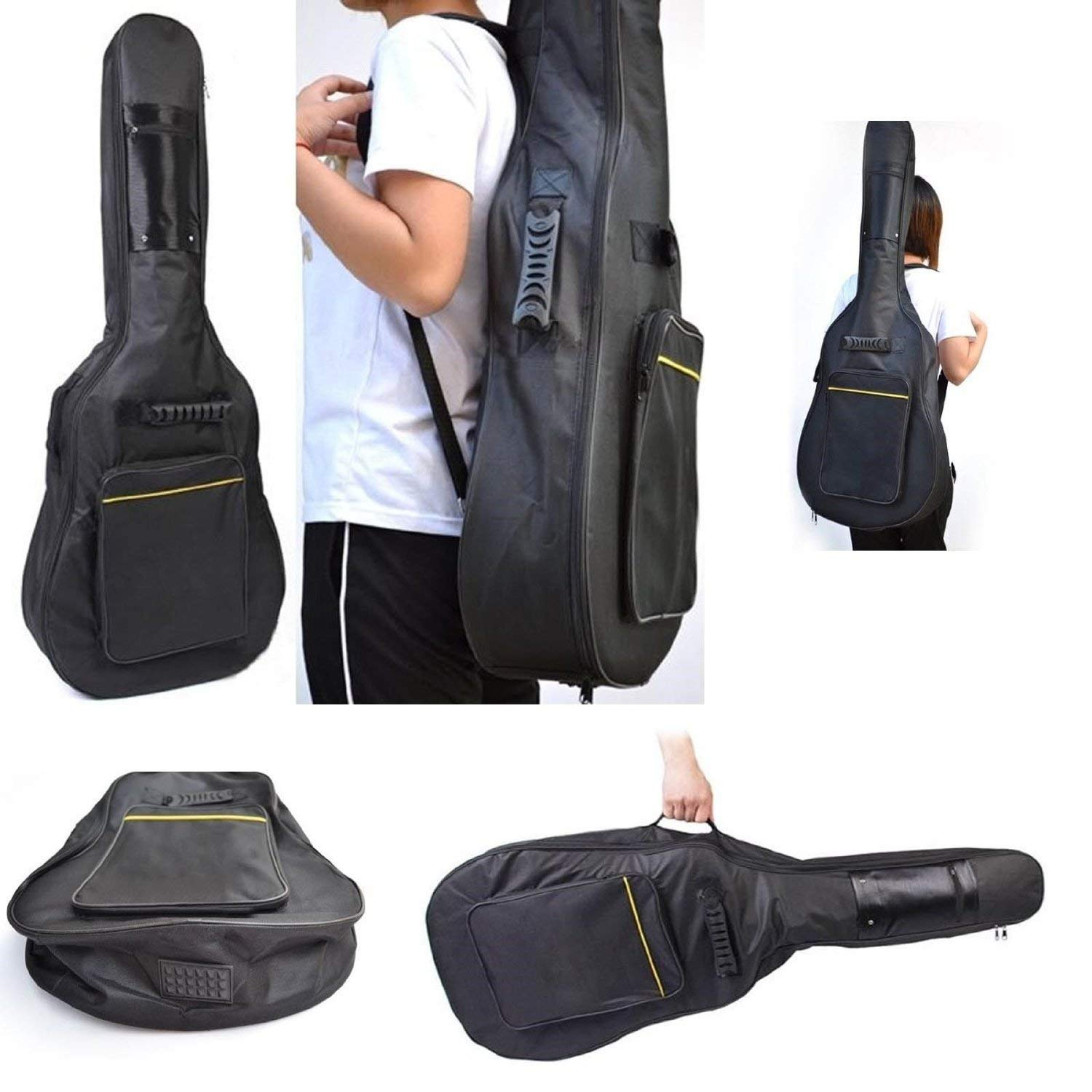 Full Size Padded Protective Classical Acoustic Guitar Back Bag Carry Case Black