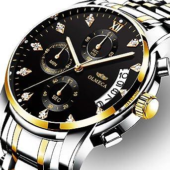 OLMECA Mens Watches Rhinestone Luxury Wristwatches Waterproof Fashion Quartz Watches Multifunction Watches for Men