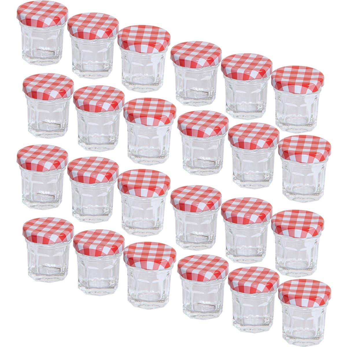 MC-Trend Lot de 12 Lot de 24 mini bocaux /à confiture en verre de 30/ml pour bricolage 12 St/ück couvercle /à vis rouge /à carreaux