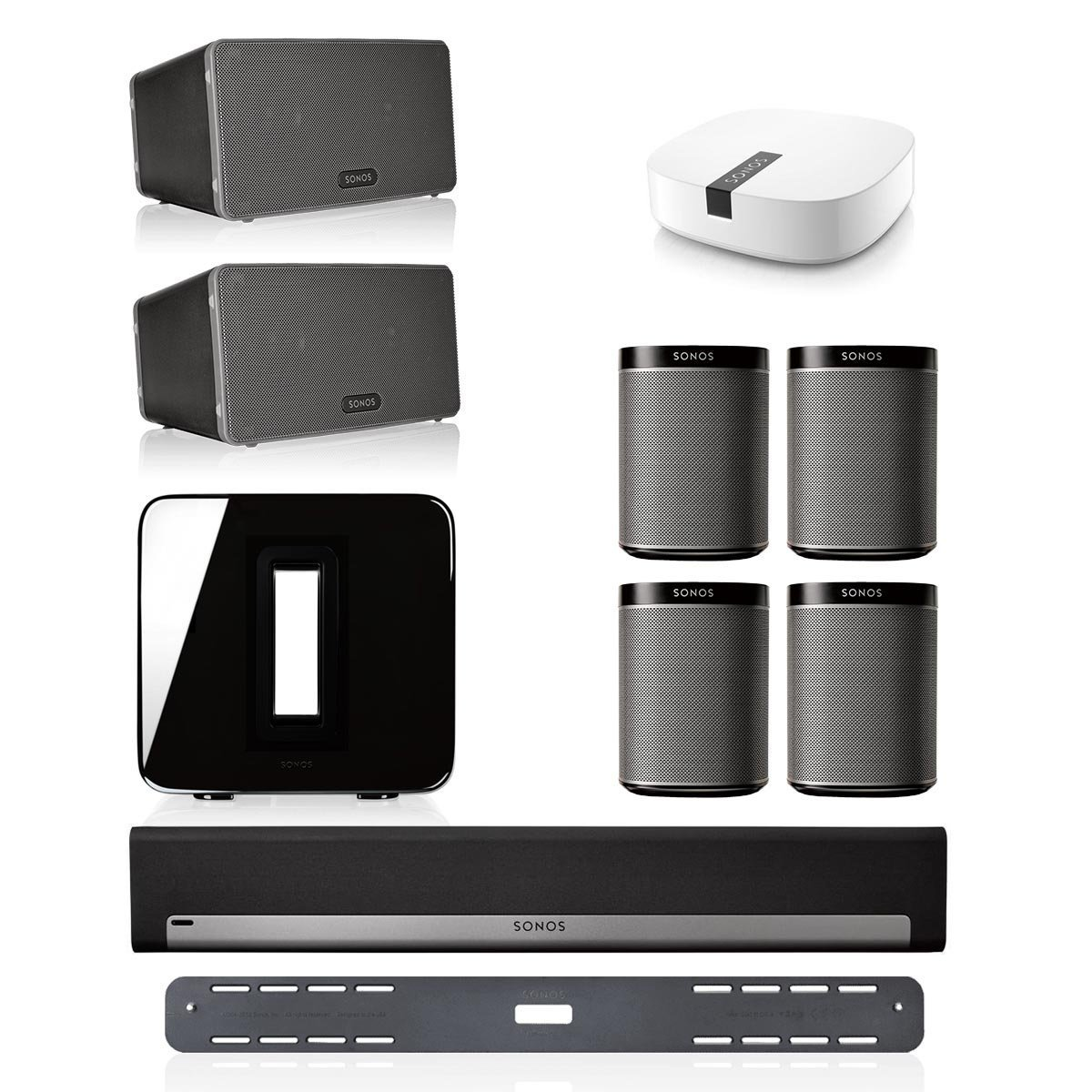 Sonos PLAYBAR Multi-Room Whole House Home Theater System with PLAY:1 Speakers, PLAY:3 Speaker, and SUB Wireless Subwoofer (Black)