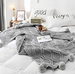 """DONEUS Pom Pom Throw Blanket, 100% Cotton Knit Throw Blankets for Sofa Bed Couch Office Super Soft Cable Knitted Blanket (Grey, 51""""x63"""")"""