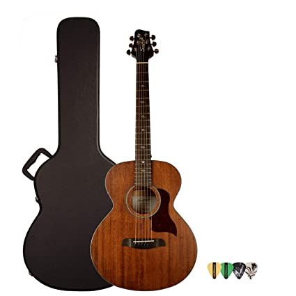 c54678e4ddf Amazon.com: Sawtooth Mahogany Series Solid Mahogany Top Acoustic-Electric  Mini Jumbo Guitar with Hard Case and Pick Sampler: Musical Instruments