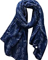 Fulltime(TM) Women's Lady Long Music Note Print Scarf Wraps Shawl Soft Scarves