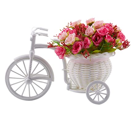 Home & Garden Just Zero Home Furnishing Decorative Floats Bicycle Basket Weaving Simulation Set Diamond Rose Flowers