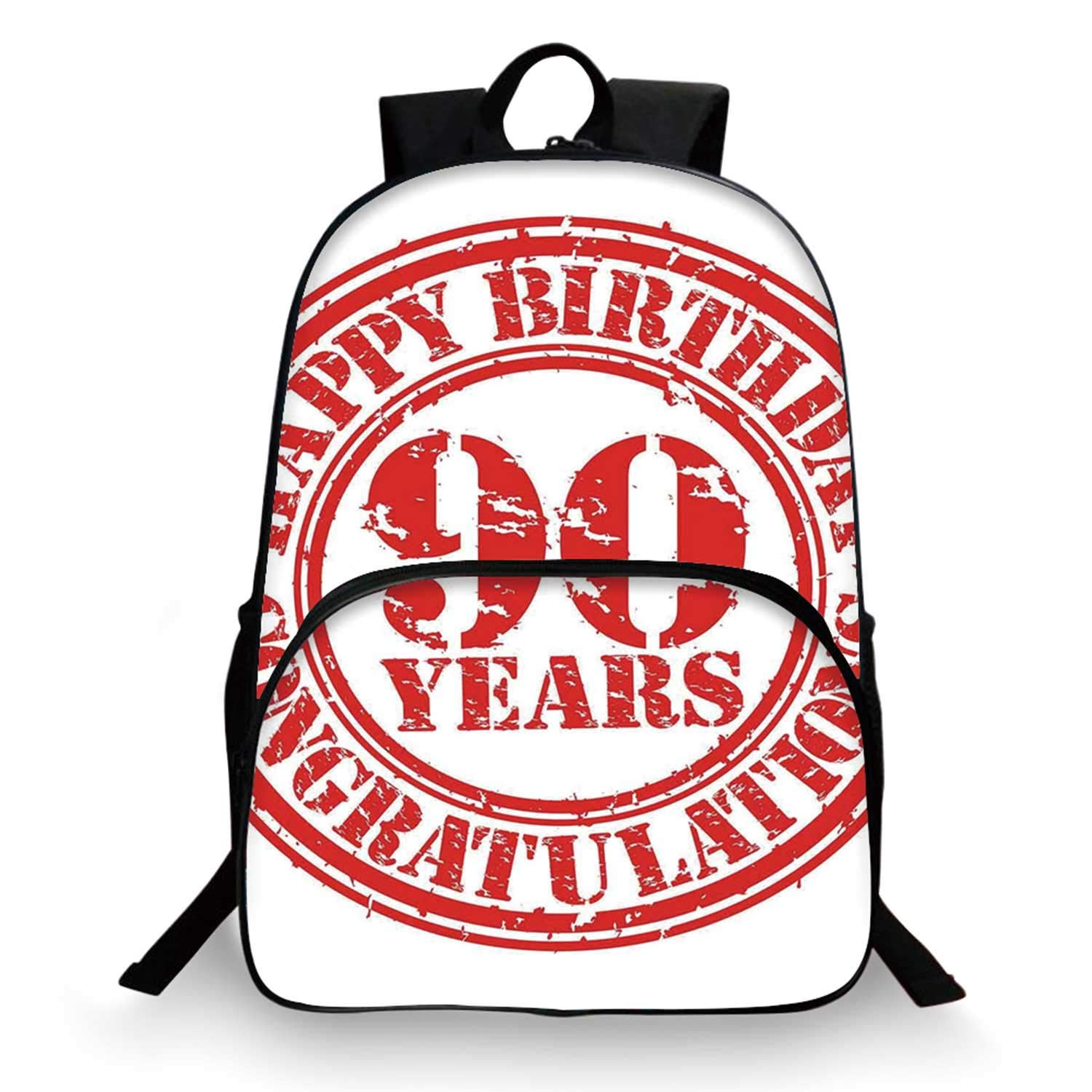 90th Birthday Decorations Various Schoolbag,Aged Dated Red Stamp with Ninety Years Grunge Look Congratulation for student,11''Lx6''Wx15''H by C COABALLA
