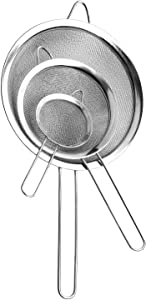Fine Mesh Strainer, Stainless Steel Fine Mesh Sieve, Set of 3 Small Strainers Fine Mesh for Kitchen, Silver Colander Sieve Sifter with Long Handle, 3.2