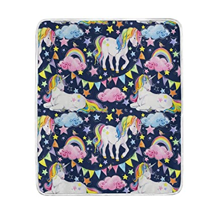 1e10962ee4 Amazon.com  Blankets Rainbow Unicorn Fantasy Animal Crystal Velvet ...