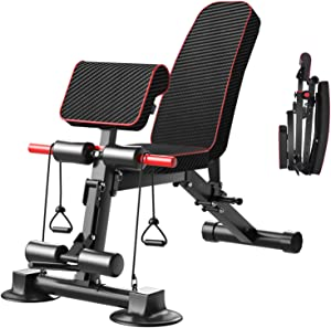 Adjustable Weight Bench - Utility Weight Benches for Full Body Workout, Foldable Flat/Incline/Decline Exercise Multi-Purpose Bench for Home Gym