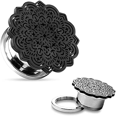 PAIR Black Tribal Flower Top Design Steel Screw Fit Tunnels Plugs Pierced Body Jewelry