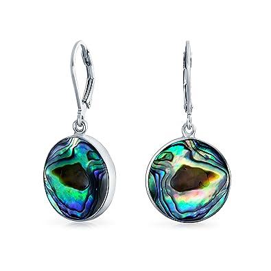 b82df37b1 Bling Jewelry .925 Silver Abalone Shell Round Disc Dangle Earrings: Amazon. co.uk: Jewellery