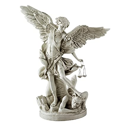 Design Toscano St. Michael The Archangel Statue Collection Gallery Resin  Statue, Antique Stone