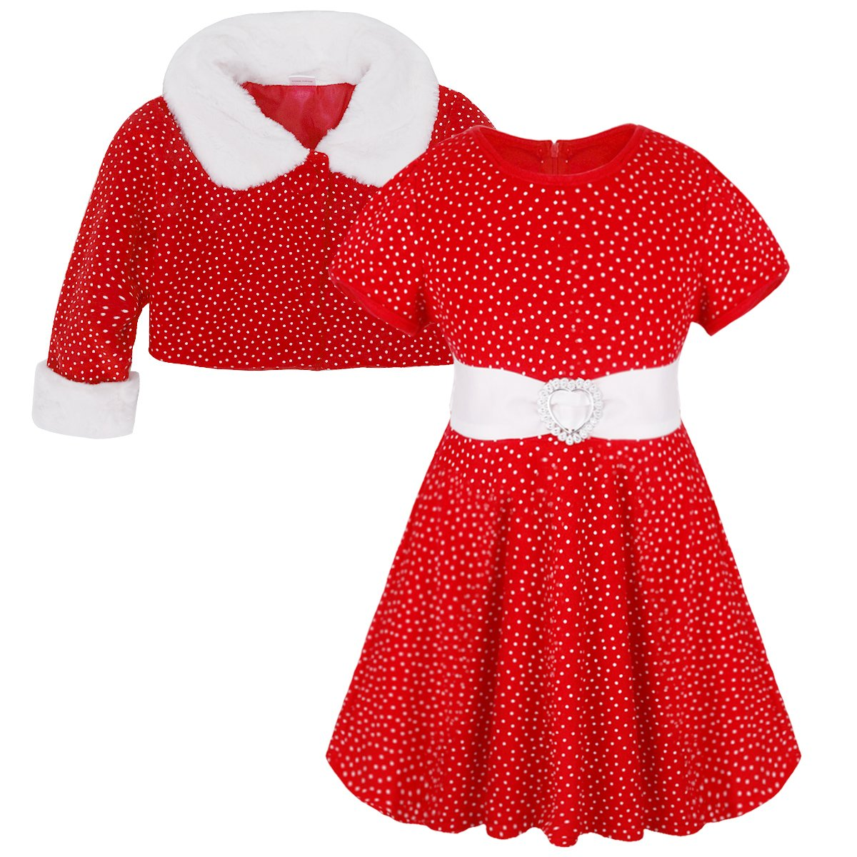 CHICTRY Baby Girls Kids Christmas Princess Outfits Red Polka Dots Dress with Faux Fur Coat set Red 18-24