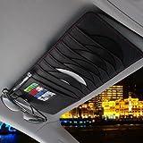 CareyNoce Auto Mehrzweck Sonnenblende Aufbewahrungstasche,CD-Halter,Brillenfassungen,Stifthalter,Karten-tasche -- (Klassisch schwarz)