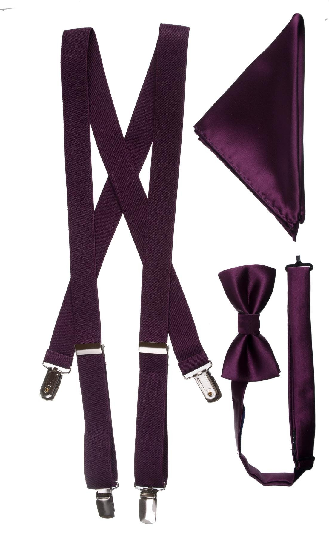 Boys Boxed Suspender and Bow Tie Set with Matching Pocket Square (Plum)