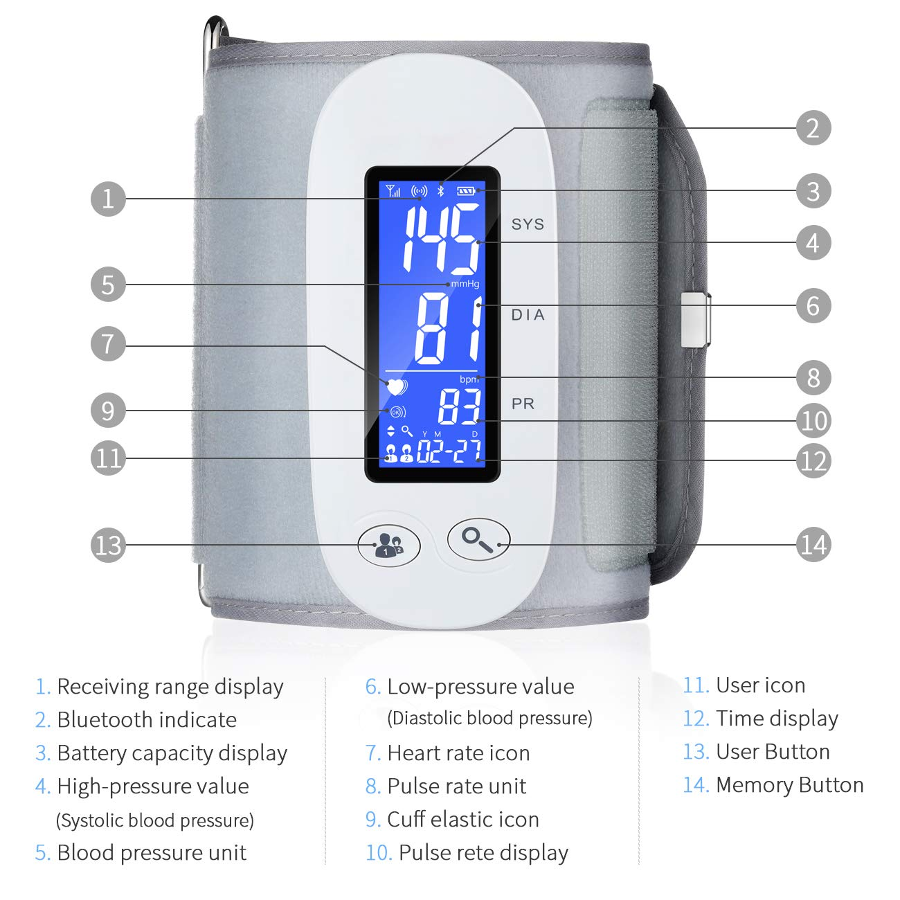 Bluetooth Blood Pressure Monitor, Digital Automatic Blood Pressure Cuff Wrist, FDA Approved Large Screen 2*500 Memory Blood Pressure Machine, Upper Arm BP Monitor Cuff with APP for Apple iOS & Android by PRYMAX (Image #2)