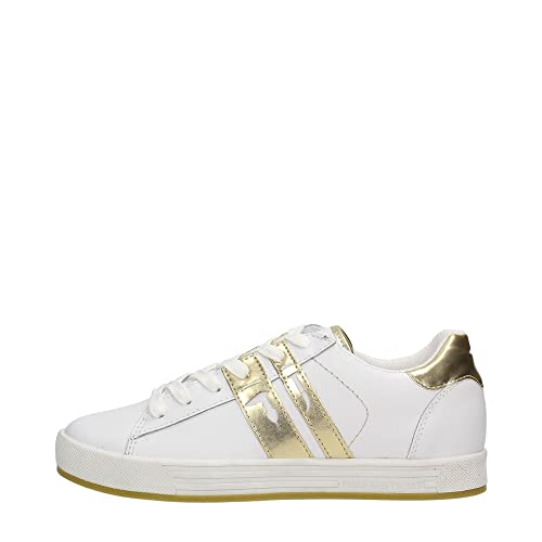 Trussardi Jeans 79S500 Sneakers Donna WHITE GOLD 40  Amazon.it ... 0ebe2f1ae29