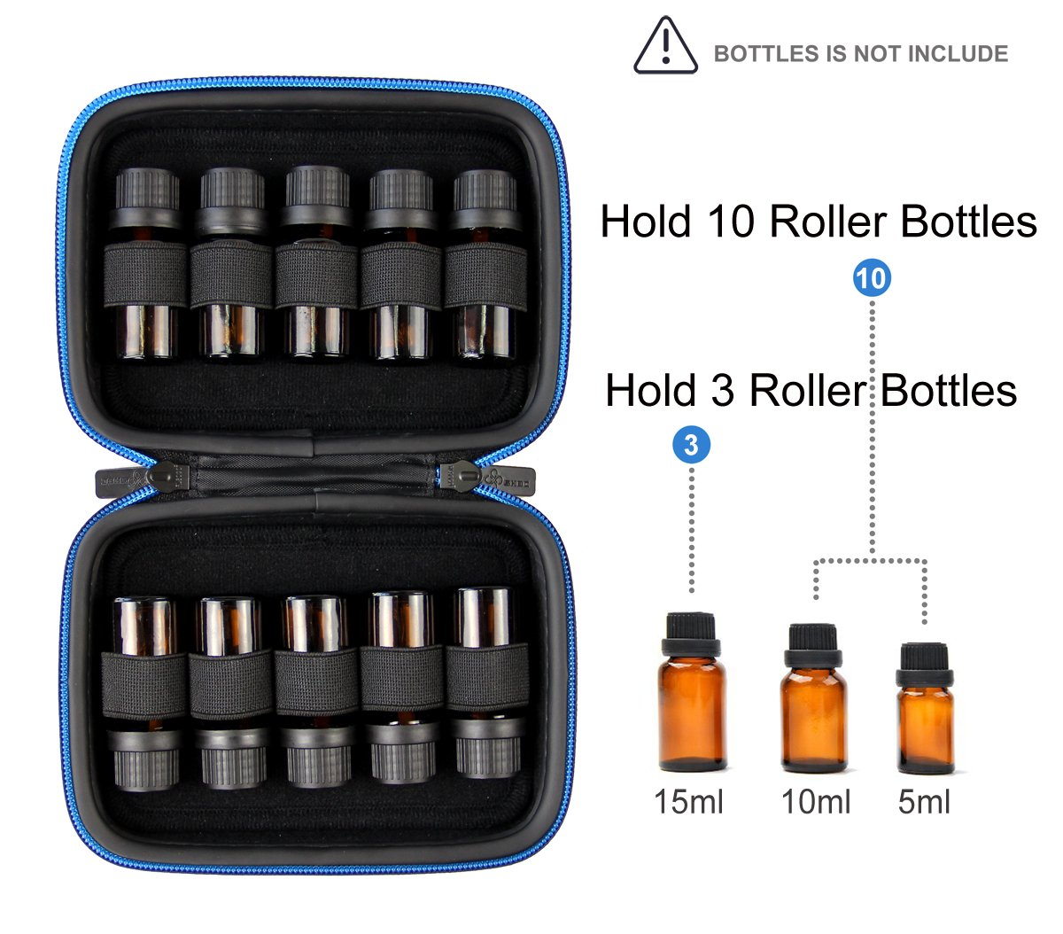 SHBC Essential Oil Case – storage carrying bag suitable for 5ml 10ml 15ml roller Bottles-portable Handle bag for travel and home-perfect for doTerra and Young Living Oil (10 bottles, Blue Butterfly) by SHBC (Image #3)