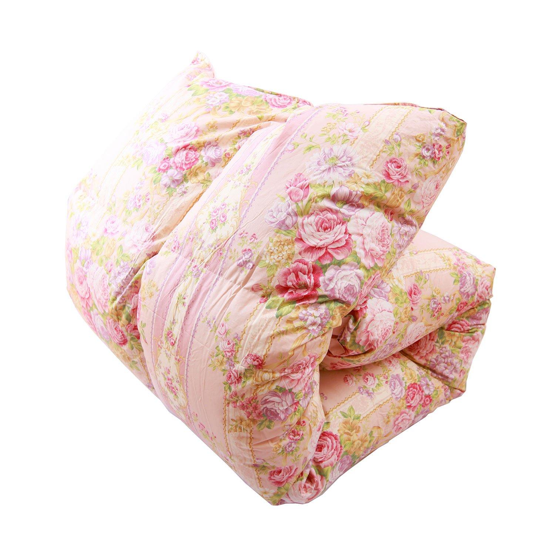羽毛布団 国産 シングル ピンク 柄おまかせ ニューゴールドラベル90% 増量タイプ1.4kg 綿100% 150×210 パワーアップ加工 シングル 羽毛掛け布団 布団 ふとん 19026SP B00969HV4E シングル|ピンク ピンク シングル
