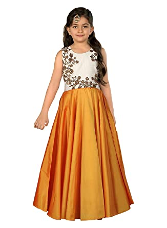 292f2988d9 Cartyshop Girl's Latest Pure White Satin Silk N Orange Badla Zari  Embroidery Umbrella Cut Flair Readymade