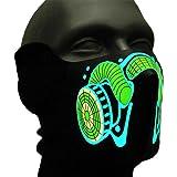 Ucult Soundaktive Leuchtmaske  Biohazard , Leuchtende Karnevalsmaske, Gasmaske Motiv, Fasching Make