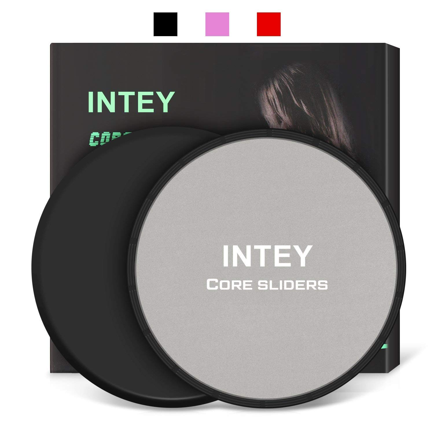 INTEY Exercise Sliders Fitness Workout Sliders Gliding Discs. Dual Sided Use on Carpet or Hardwood Floors, Bonus Carry Bag and Gift Box by INTEY (Image #1)