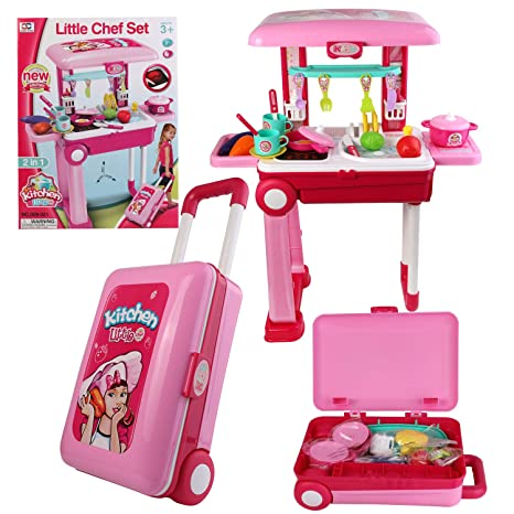 Amazon Com Roxie Pack Up Go Pretend Play Kitchen Set For Kids