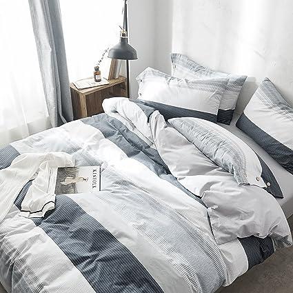 Amazon Com Vclife Cotton Bedding Sets Gray White Black Kids Duvet