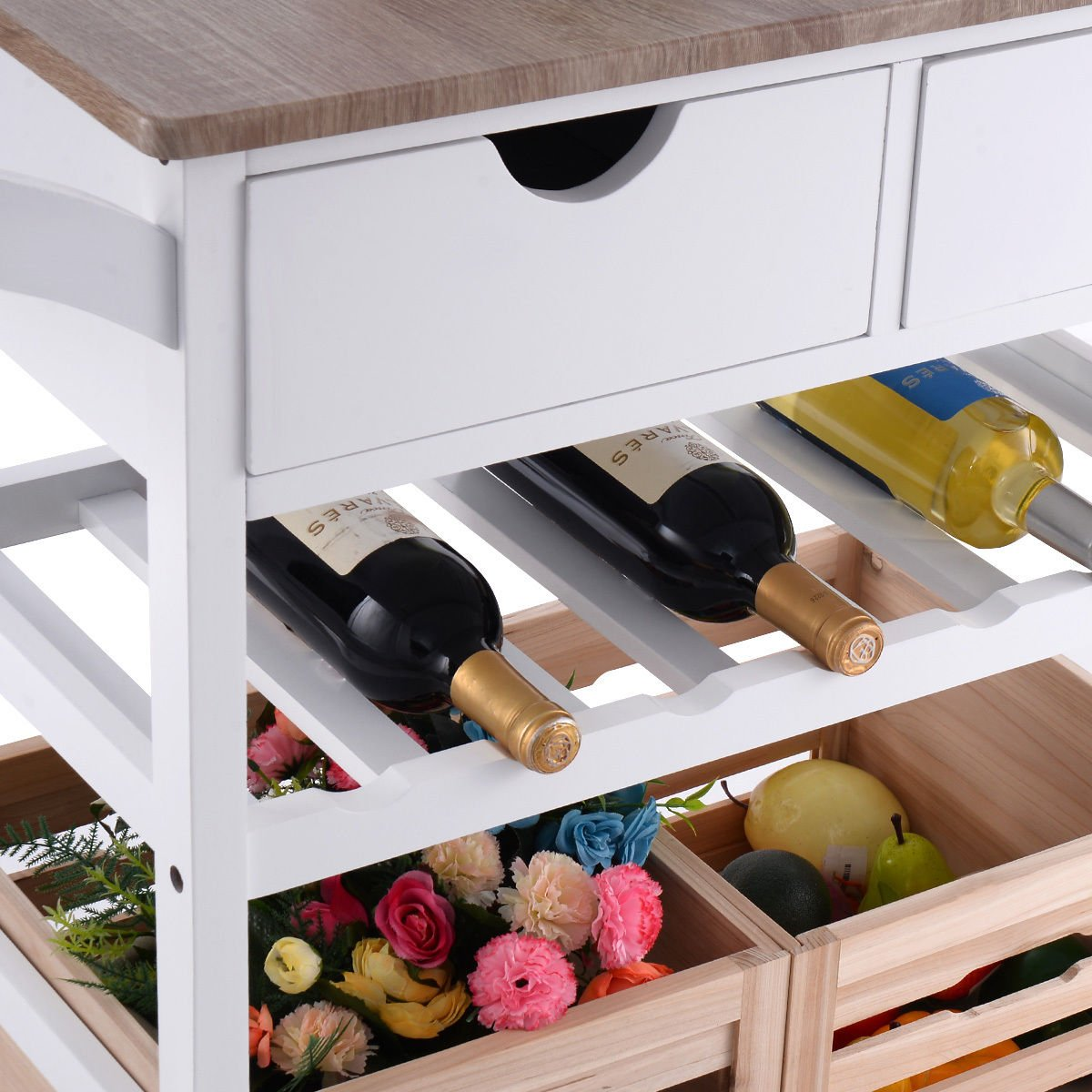 Costzon Kitchen Trolley Island Cart Dining Storage with Drawers Basket Wine Rack by Costzon (Image #6)