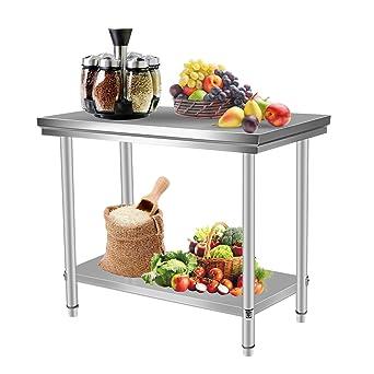 Homgrace Tavolo di Lavoro Cucina in Acciaio Inox a Due Ripiani ...