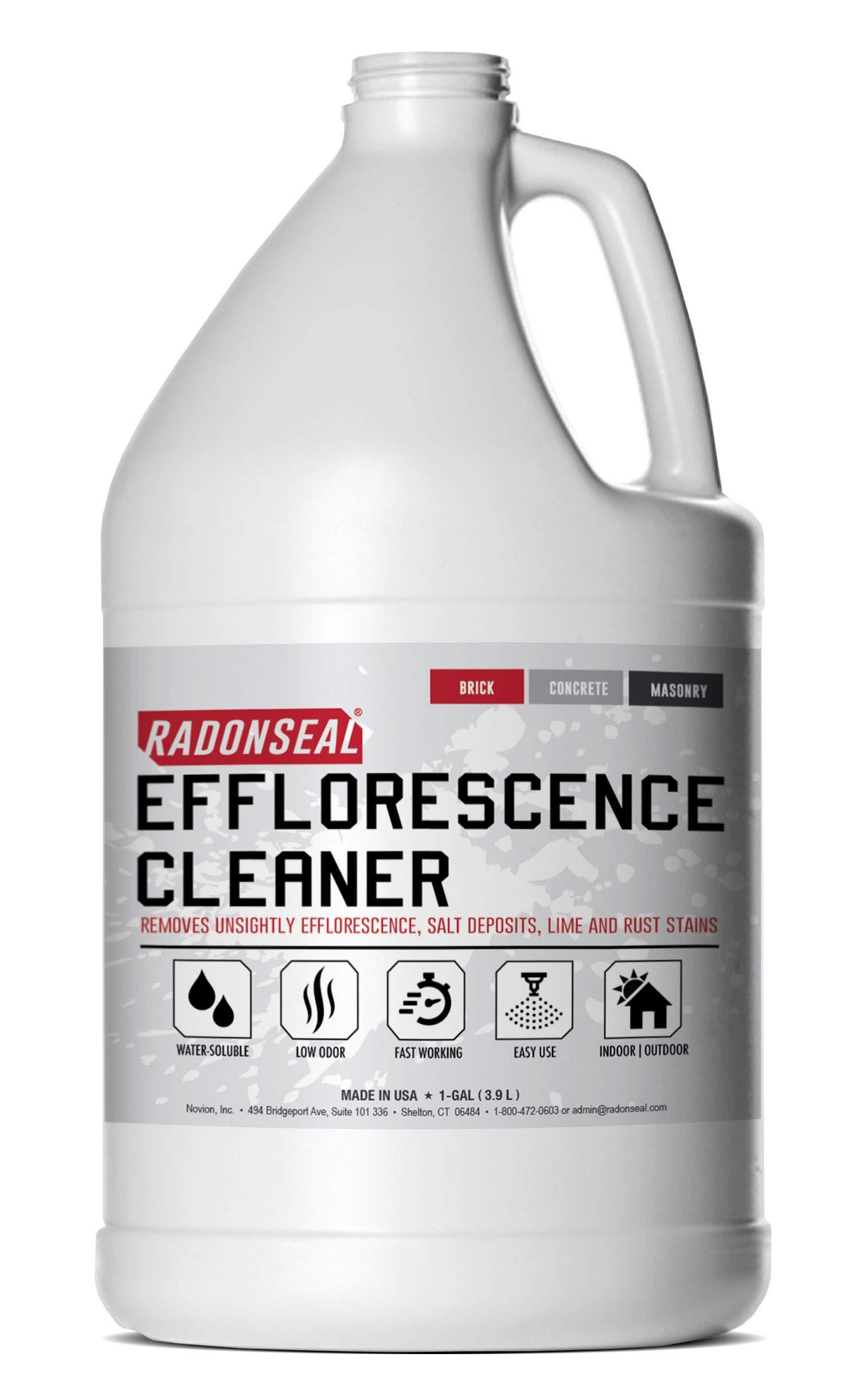 RadonSeal Efflorescence Remover - Cleans Efflorescence, Mortar Haze, Lime Deposits, and Rust Stains. No Odor, Safe for Use Indoors & Outdoors