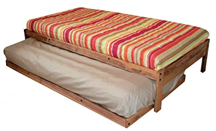 Santa Cruz Extra Long Twin Bed With Twin Trundle (Toasted Pecan) Made In USA