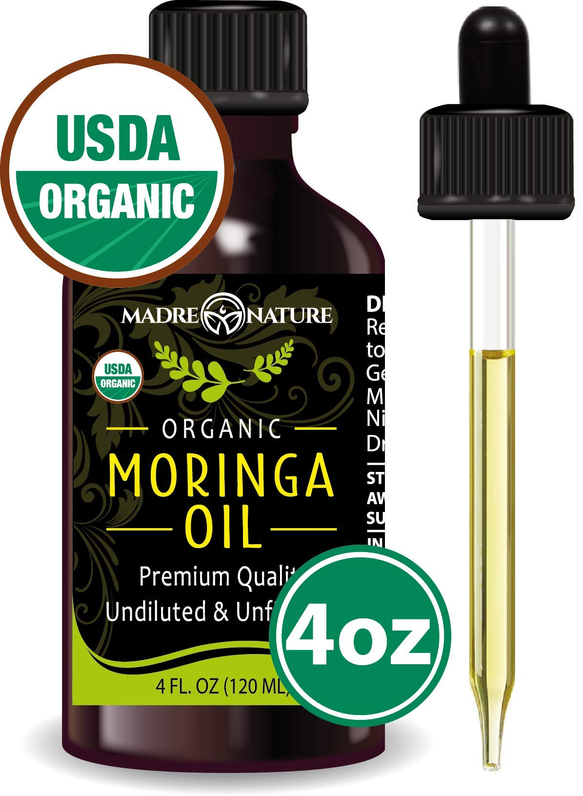 USDA Organic Moringa Oil - Highest Quality, Cold-Pressed, Unrefined, non-GMO - 4 Ounce Glass Bottle with Dropper - For Face, Body, and Hair - Food Grade for Oral Consumption by Madre Nature