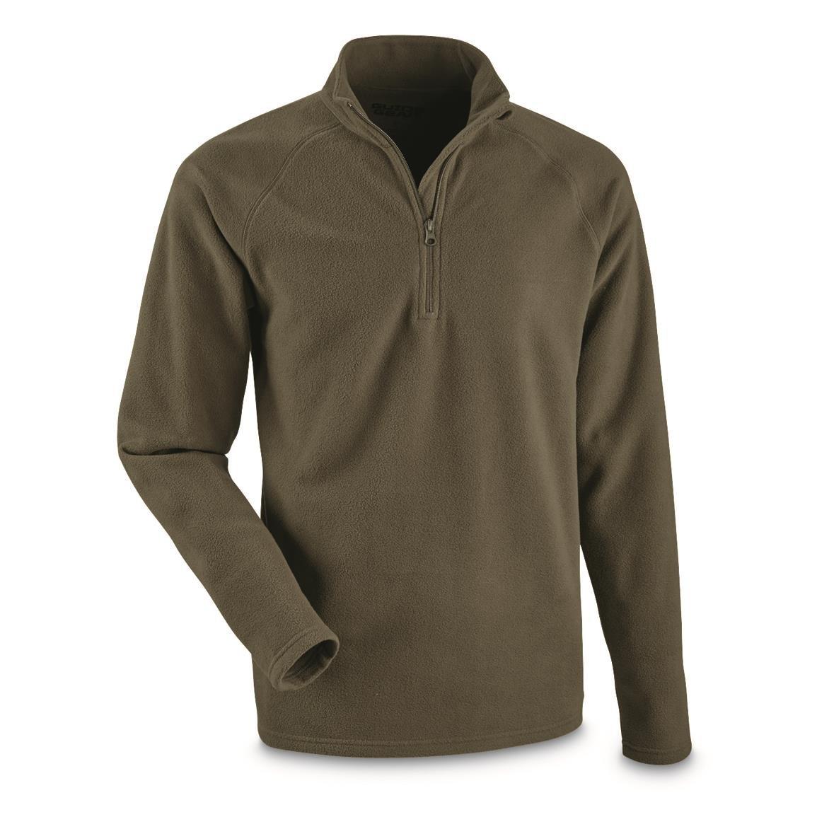 Olive Brown XL Guide Gear Mens Heavyweight Fleece Base Layer Quarter Zip Top