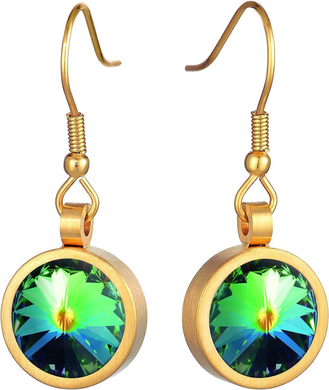 Heideman Earrings Ladies Coma acero inoxidable color oro mate Pendientes colgantes para mujeres con Swarovski Stone Crystal blanco/color fantasía tallado en piedra preciosa