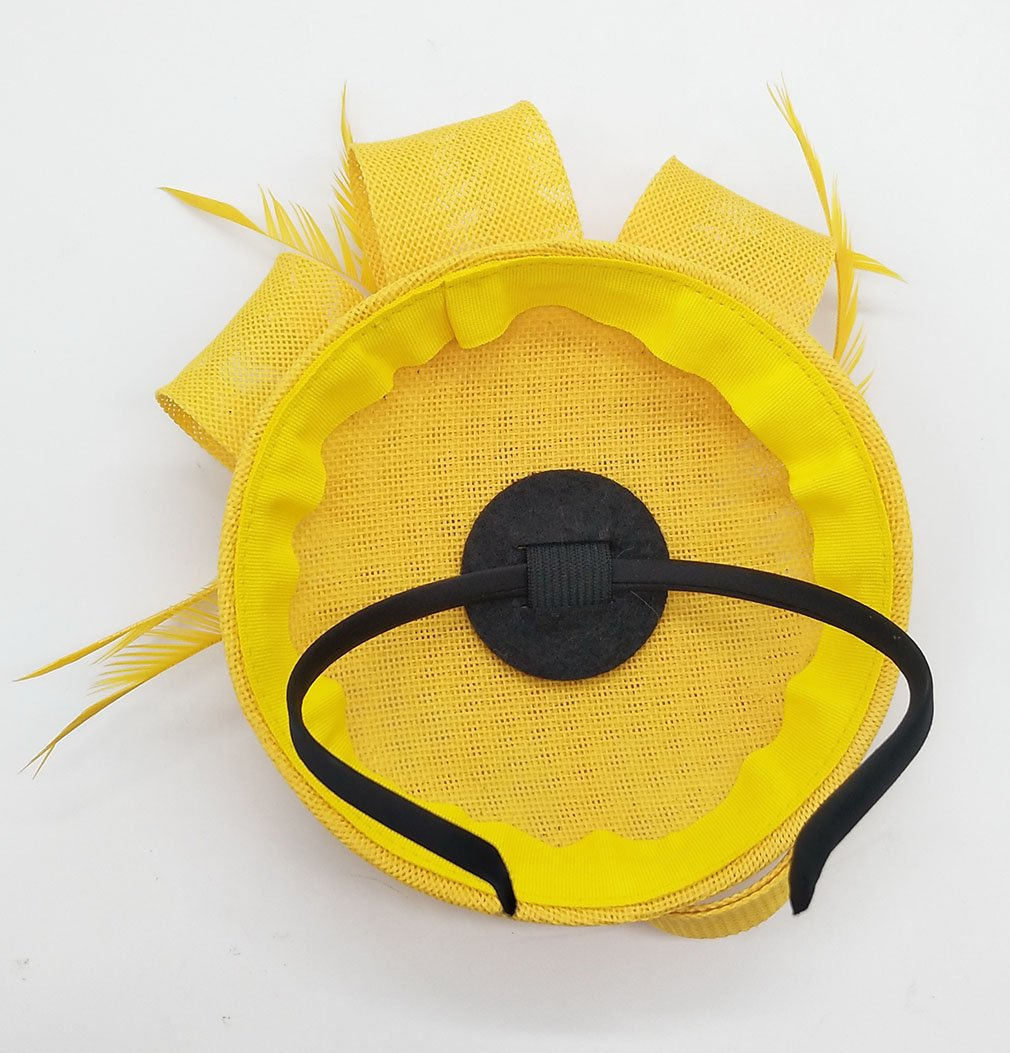 Biruil Women's Fascinator Hat Imitation Sinamay Feather Tea Party Pillbox Flower Derby (Yellow) by Biruil (Image #6)